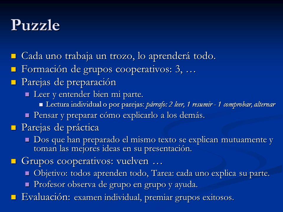 Puzzle Cada uno trabaja un trozo, lo aprenderá todo. Cada uno trabaja un trozo, lo aprenderá todo. Formación de grupos cooperativos: 3, … Formación de