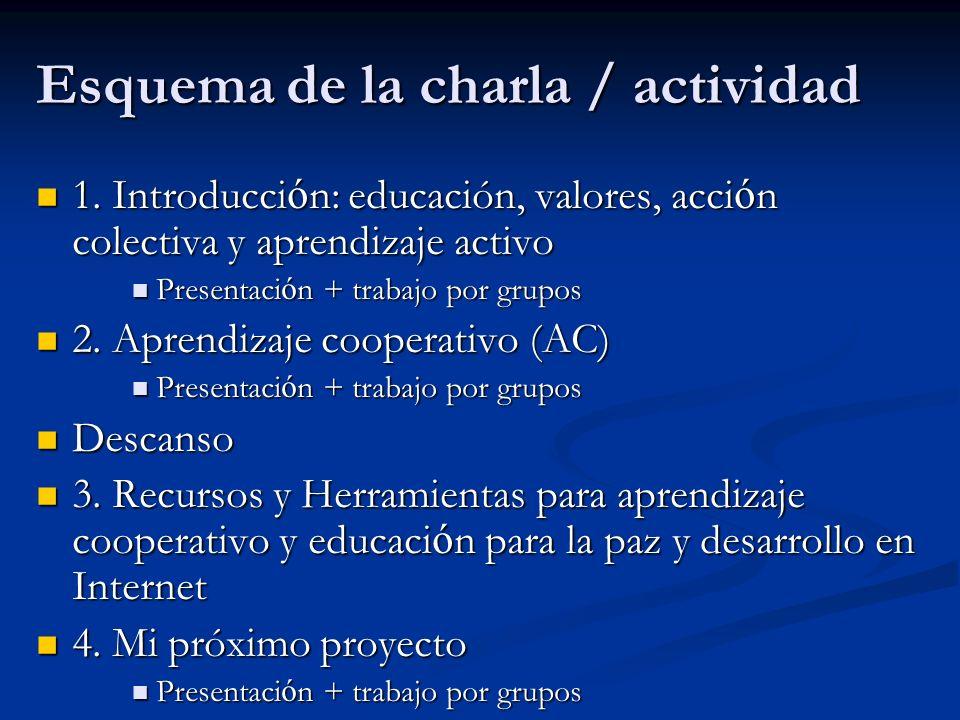 Esquema de la charla / actividad 1. Introducci ó n: educación, valores, acci ó n colectiva y aprendizaje activo 1. Introducci ó n: educación, valores,
