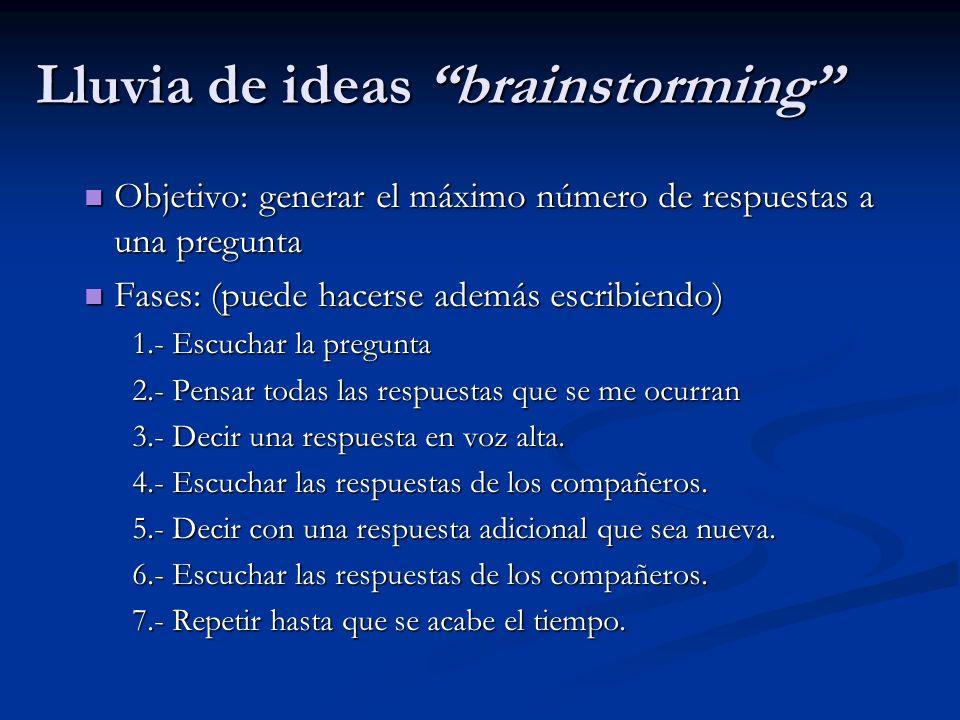 Lluvia de ideas brainstorming Objetivo: generar el máximo número de respuestas a una pregunta Objetivo: generar el máximo número de respuestas a una p