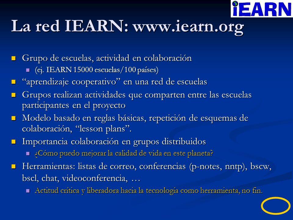 La red IEARN: www.iearn.org Grupo de escuelas, actividad en colaboración Grupo de escuelas, actividad en colaboración (ej. IEARN 15000 escuelas/100 pa