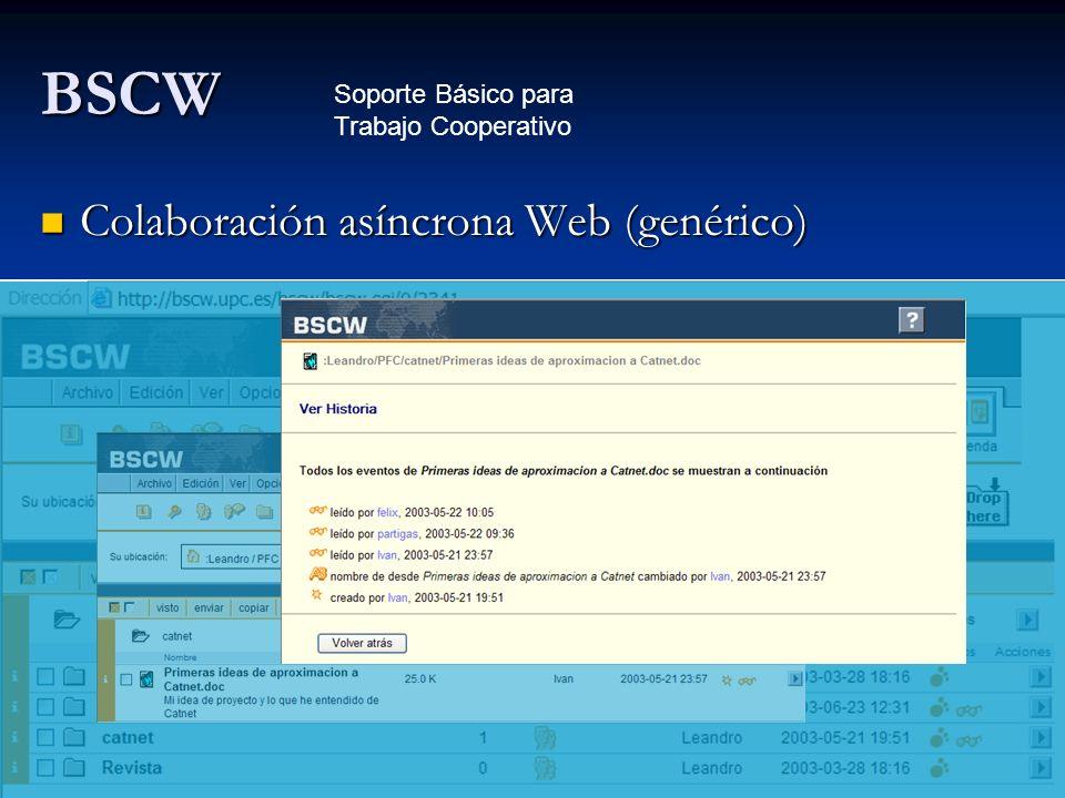 BSCW Colaboración asíncrona Web (genérico) Colaboración asíncrona Web (genérico) Soporte Básico para Trabajo Cooperativo