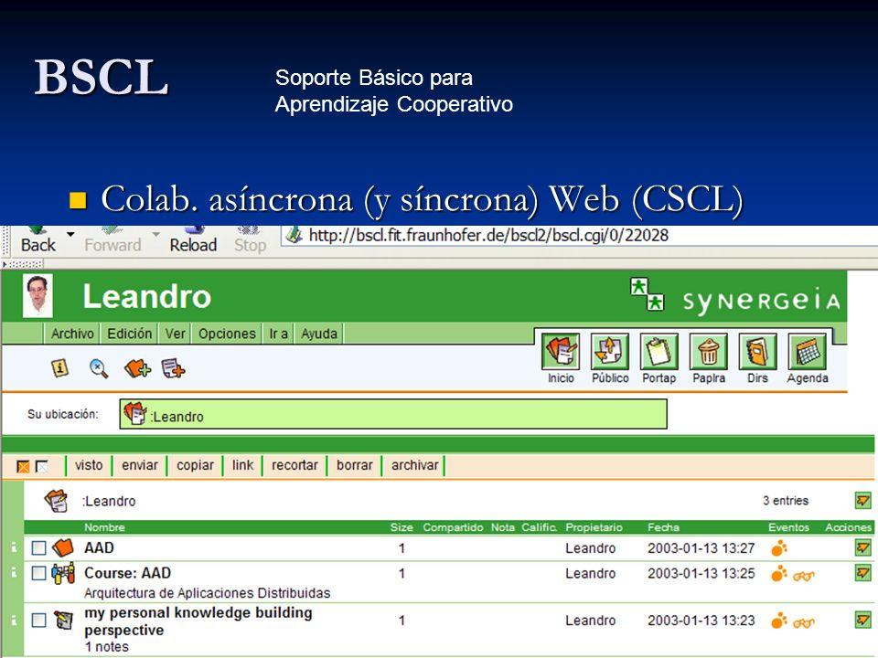 BSCL Colab. asíncrona (y síncrona) Web (CSCL) Colab. asíncrona (y síncrona) Web (CSCL) Soporte Básico para Aprendizaje Cooperativo