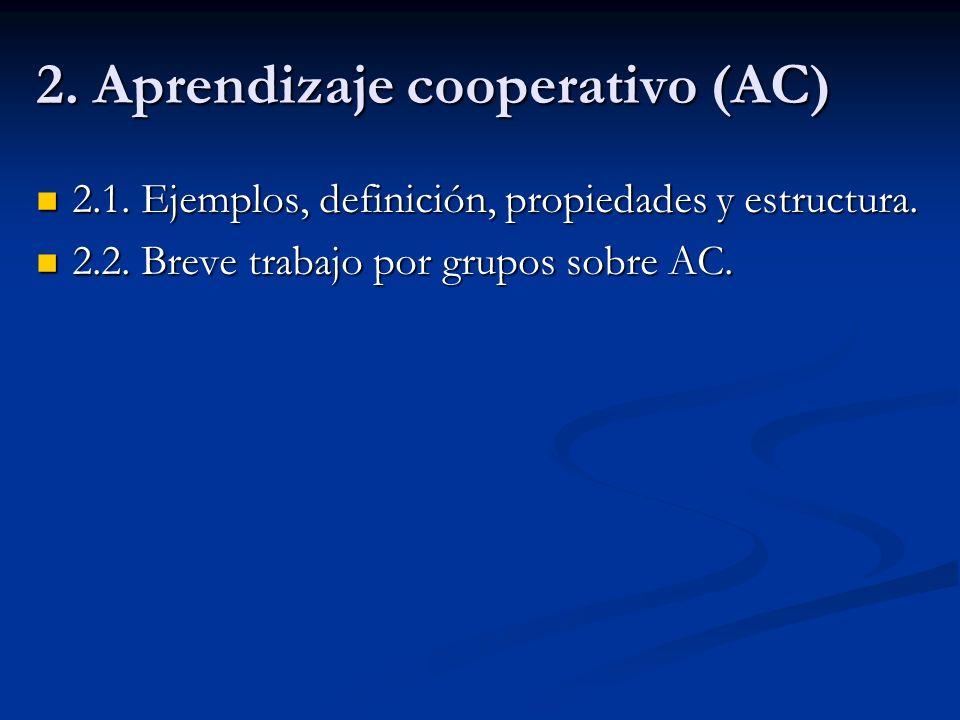 2. Aprendizaje cooperativo (AC) 2.1. Ejemplos, definición, propiedades y estructura. 2.1. Ejemplos, definición, propiedades y estructura. 2.2. Breve t