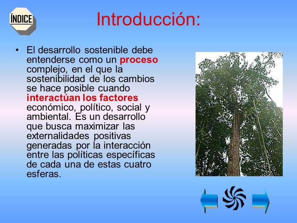 Introducción: El desarrollo sostenible debe entenderse como un proceso complejo, en el que la sostenibilidad de los cambios se hace posible cuando interactúan los factores económico, político, social y ambiental.