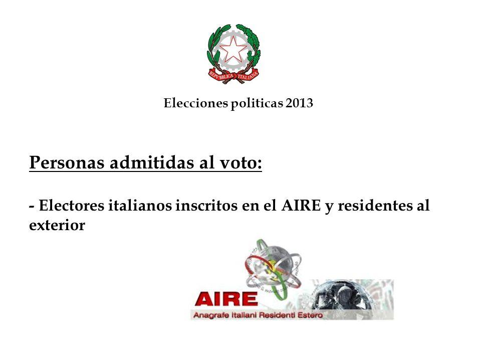 Insertar el sobre pequeño y el talón dentro del sobre franqueado (que contiene la direccion del Consulado General de Italia en Caracas) Elecciones politicas 2013