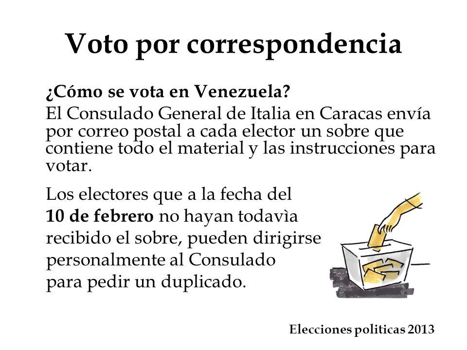 En todo caso, el sobre que contiene el voto debe ser entregado a tiempo para que llegue al Consulado General de Italia en Caracas dentro de las 4.00 p.m.