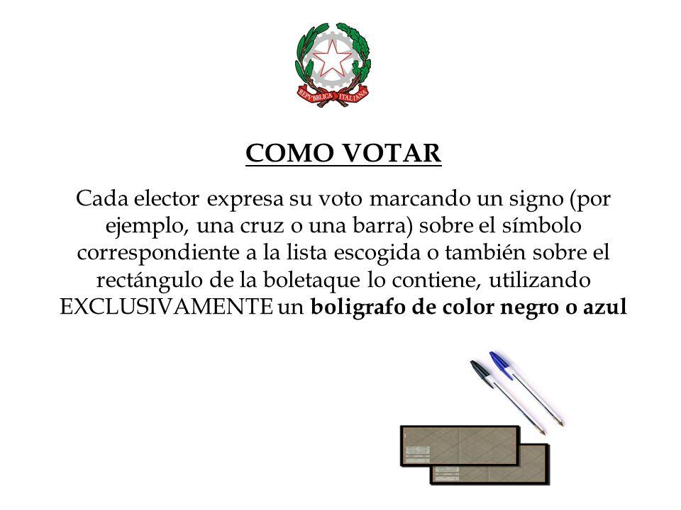 Cada elector puede expresar su voto de preferencia escribiendo el apellido del candidato en la línea que está al lado del símbolo votado.
