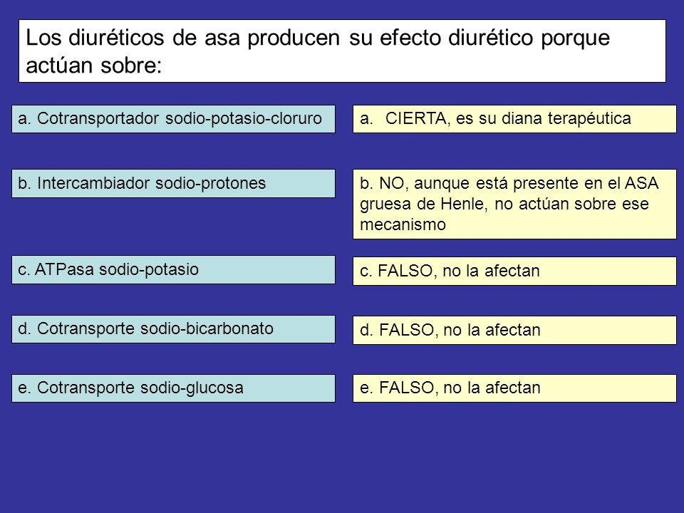 a. Cotransportador sodio-potasio-cloruro b. Intercambiador sodio-protones c. ATPasa sodio-potasio d. Cotransporte sodio-bicarbonato e. Cotransporte so
