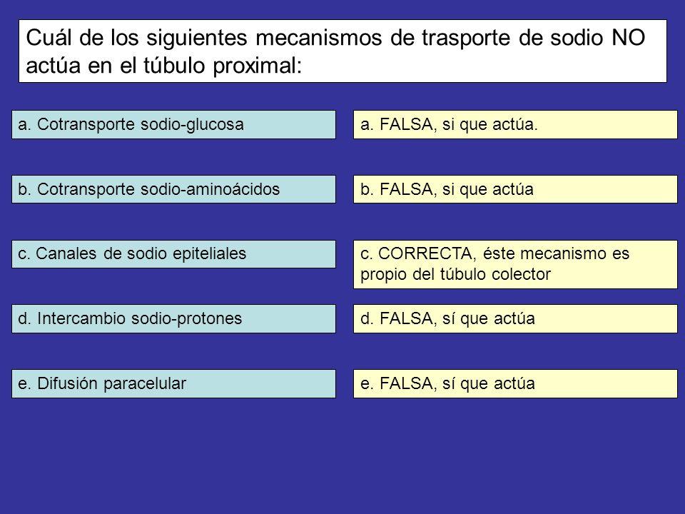a. Cotransporte sodio-glucosa b. Cotransporte sodio-aminoácidos c. Canales de sodio epiteliales d. Intercambio sodio-protones e. Difusión paracelular