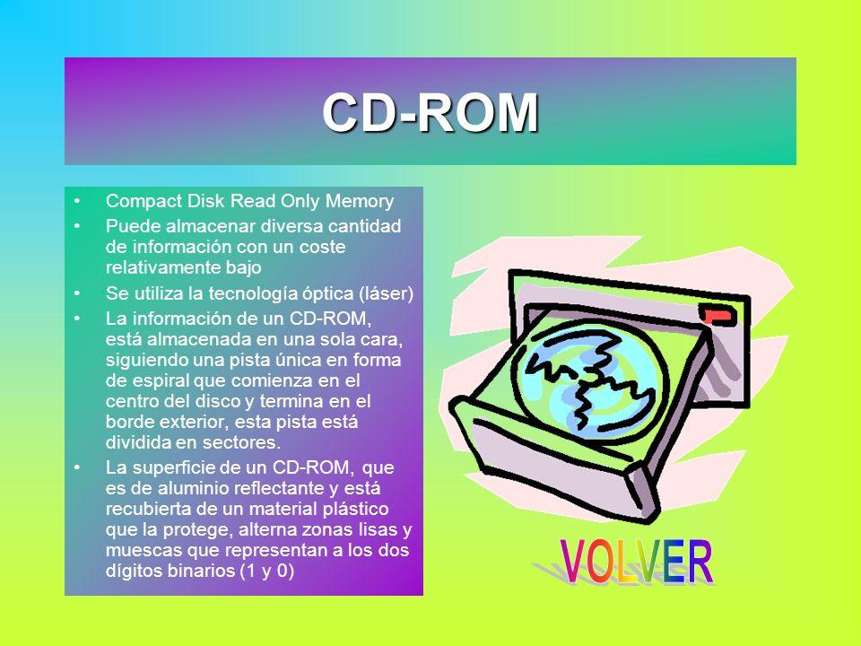 CD-ROM Compact Disk Read Only Memory Puede almacenar diversa cantidad de información con un coste relativamente bajo Se utiliza la tecnología óptica (