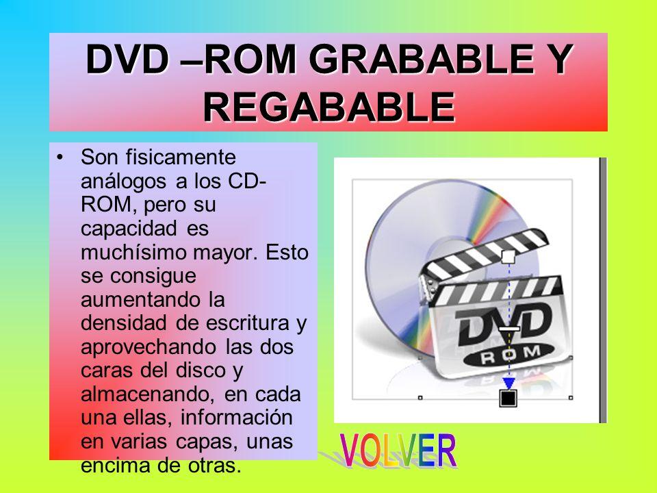 DVD –ROM GRABABLE Y REGABABLE Son fisicamente análogos a los CD- ROM, pero su capacidad es muchísimo mayor. Esto se consigue aumentando la densidad de