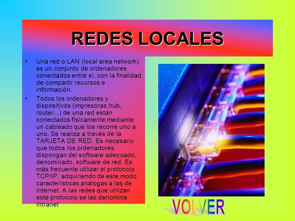 REDES LOCALES Una red o LAN (local area network) es un conjunto de ordenadores conectados entre sí, con la finalidad de compartir recursos e informaci