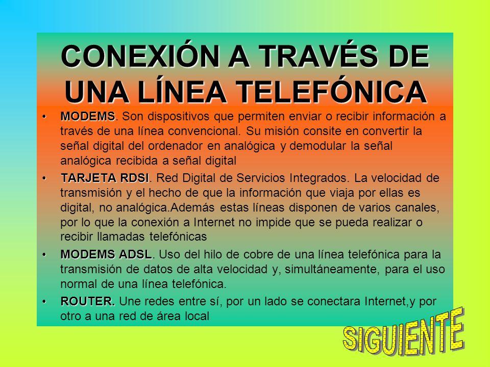 CONEXIÓN A TRAVÉS DE UNA LÍNEA TELEFÓNICA MODEMSMODEMS. Son dispositivos que permiten enviar o recibir información a través de una línea convencional.