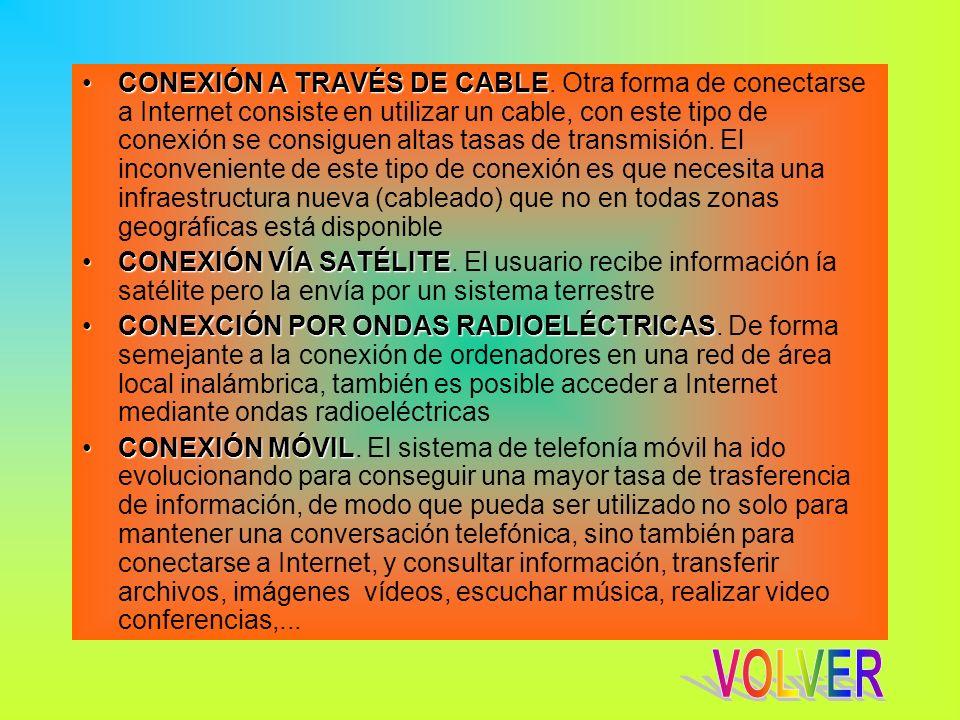 CONEXIÓN A TRAVÉS DE CABLECONEXIÓN A TRAVÉS DE CABLE. Otra forma de conectarse a Internet consiste en utilizar un cable, con este tipo de conexión se