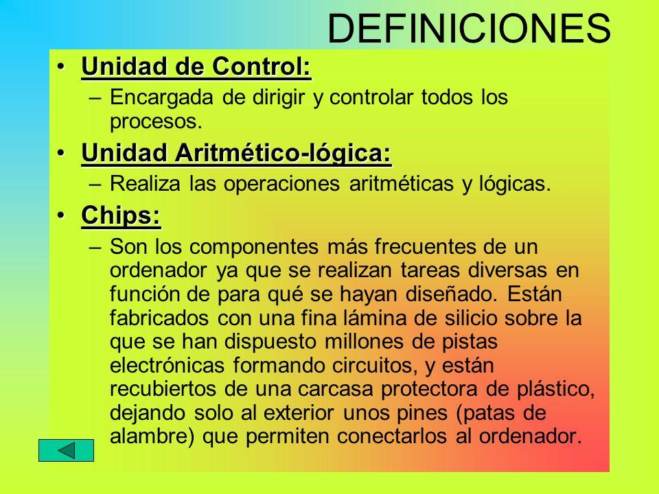 Unidad de Control:Unidad de Control: –Encargada de dirigir y controlar todos los procesos. Unidad Aritmético-lógica:Unidad Aritmético-lógica: –Realiza