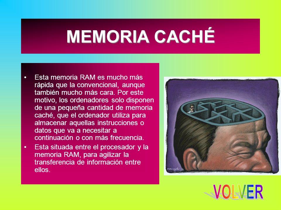 MEMORIA CACHÉ Esta memoria RAM es mucho más rápida que la convencional, aunque también mucho más cara. Por este motivo, los ordenadores solo disponen