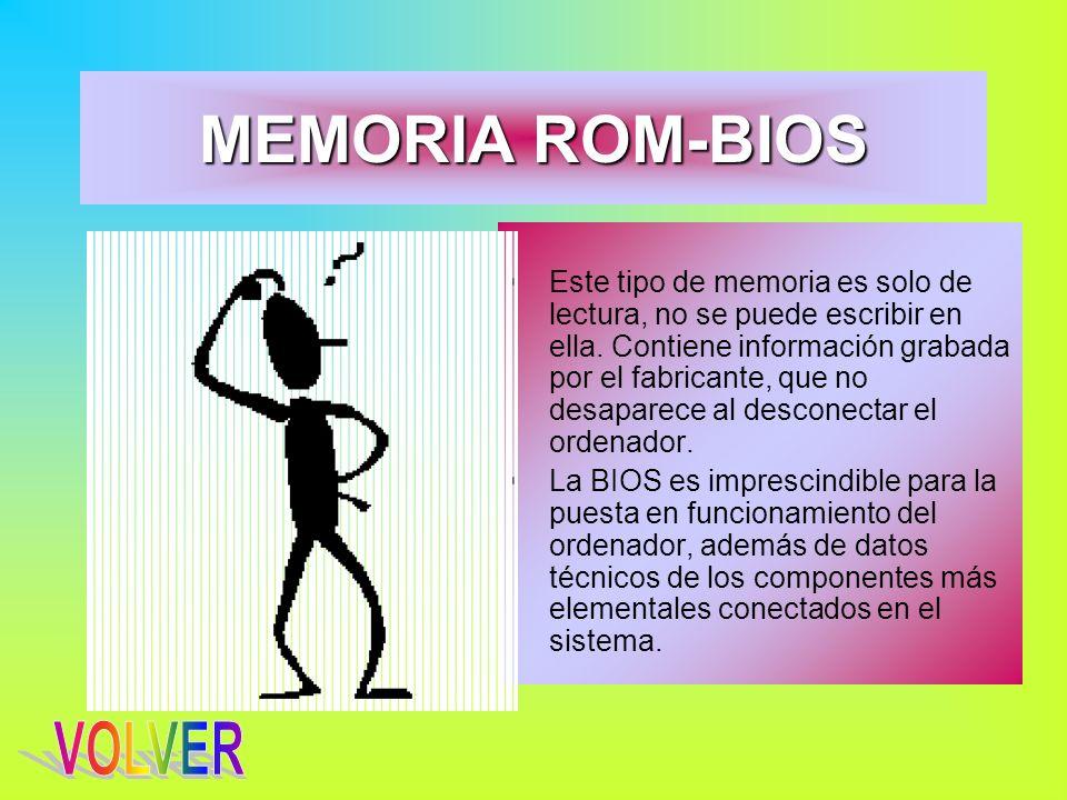 MEMORIA ROM-BIOS Este tipo de memoria es solo de lectura, no se puede escribir en ella. Contiene información grabada por el fabricante, que no desapar