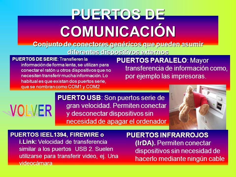 PUERTOS DE COMUNICACIÓN Conjunto de conectores genéricos que pueden asumir diferentes dispositivos externos PUERTOS PARALELO: Mayor transferencia de i
