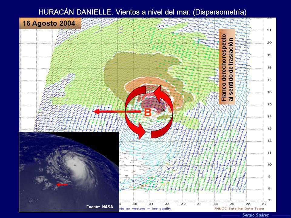 HURACÁN DANIELLE. Vientos a nivel del mar. (Dispersometría) 16 Agosto 2004 Análisis. 16.08.04 00z. NOGAPS Fuente: NASA º B Flanco derecho respecto al