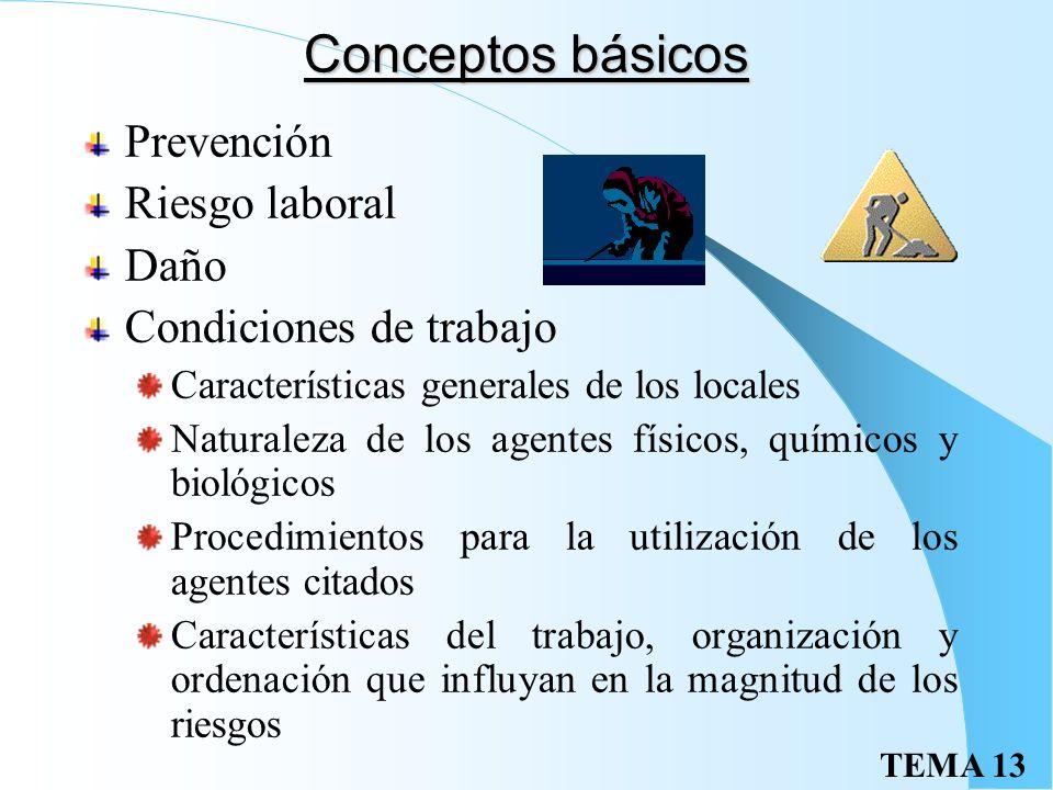 TEMA 13 Conceptos básicos Prevención Riesgo laboral Daño Condiciones de trabajo Características generales de los locales Naturaleza de los agentes físicos, químicos y biológicos Procedimientos para la utilización de los agentes citados Características del trabajo, organización y ordenación que influyan en la magnitud de los riesgos