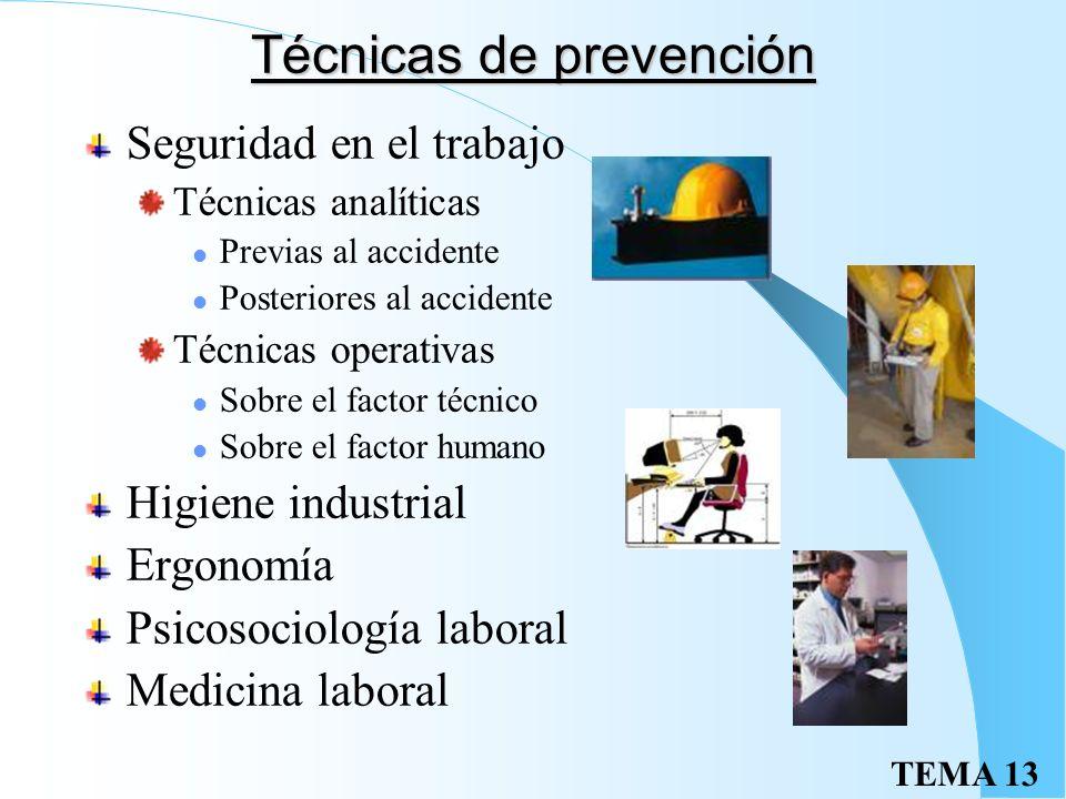 TEMA 13 Técnicas de prevención Seguridad en el trabajo Técnicas analíticas Previas al accidente Posteriores al accidente Técnicas operativas Sobre el factor técnico Sobre el factor humano Higiene industrial Ergonomía Psicosociología laboral Medicina laboral