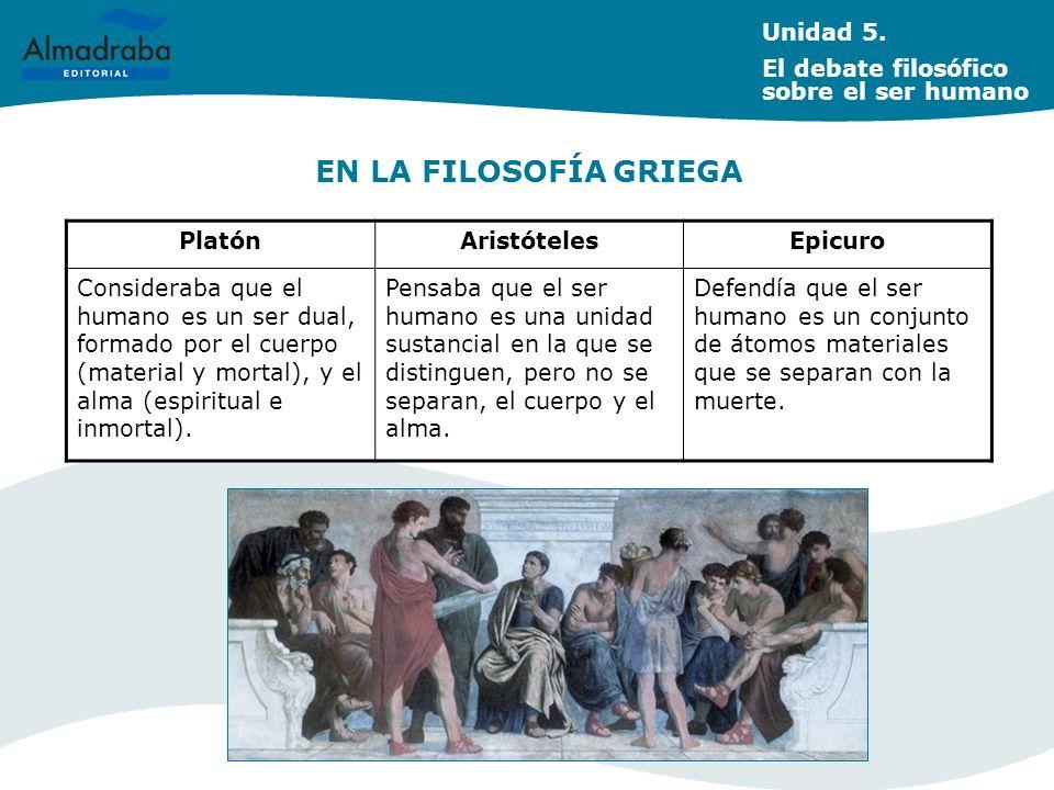 EN LA FILOSOFÍA CRISTIANA Unidad 5.
