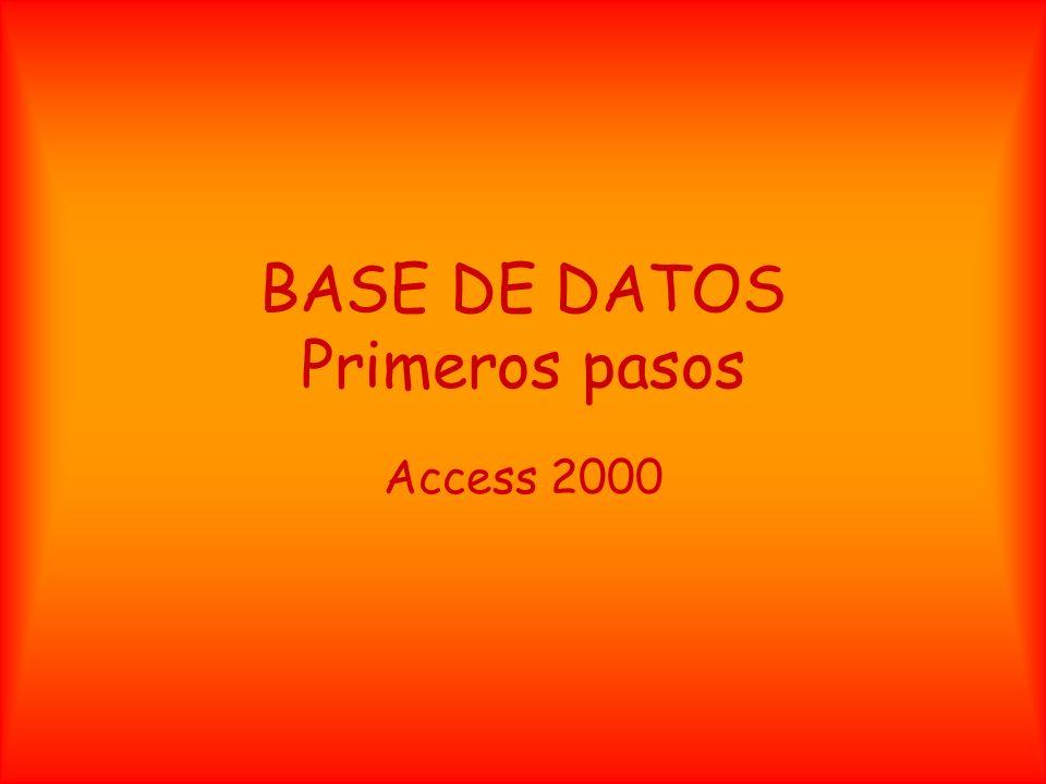 BASE DE DATOS Primeros pasos Access 2000