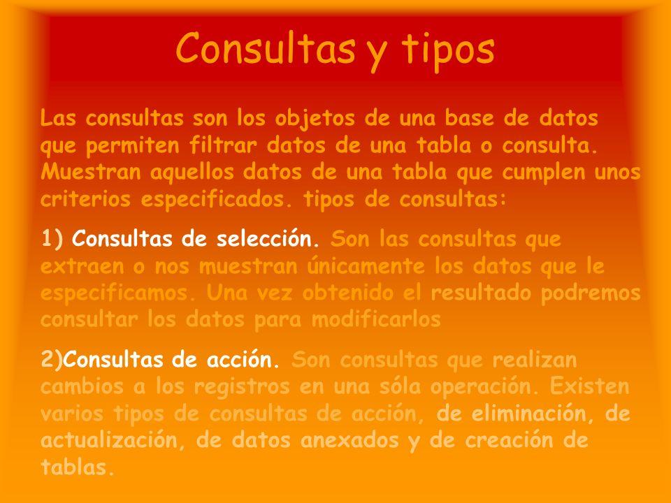 Consultas y tipos Las consultas son los objetos de una base de datos que permiten filtrar datos de una tabla o consulta.