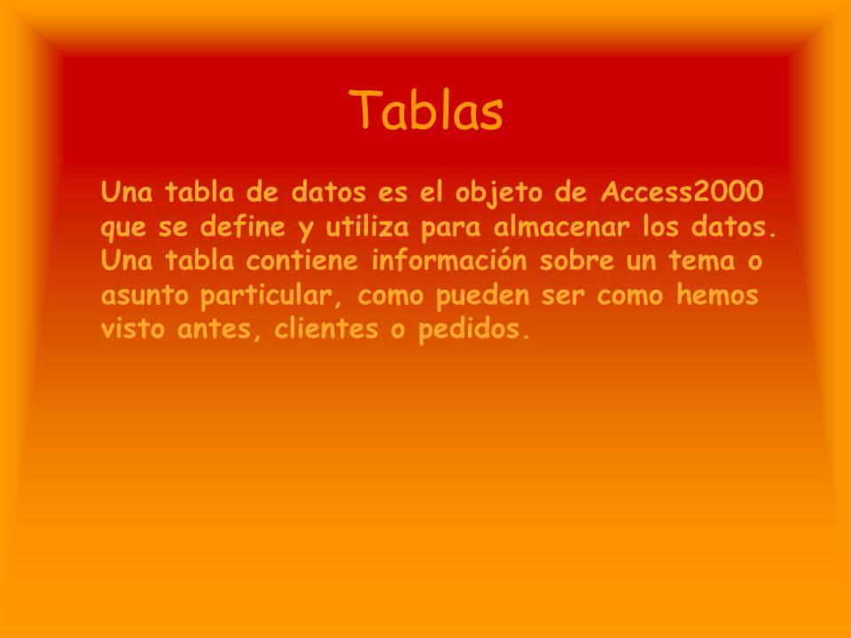 Tablas Una tabla de datos es el objeto de Access2000 que se define y utiliza para almacenar los datos.