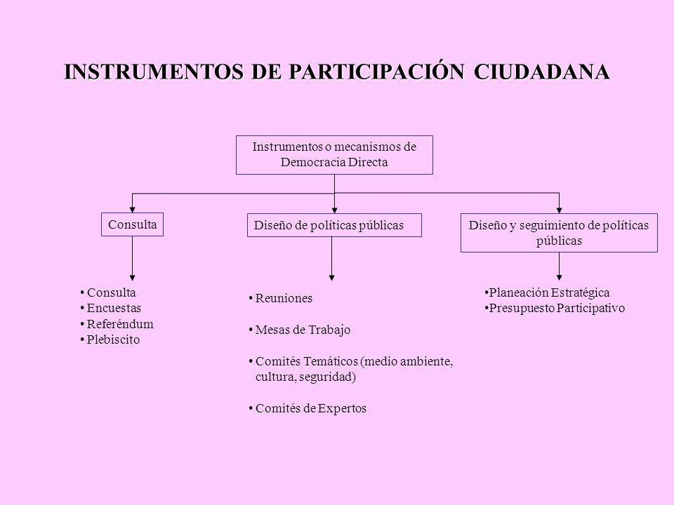 INSTRUMENTOS DE PARTICIPACIÓN CIUDADANA Instrumentos o mecanismos de Democracia Directa Consulta Diseño de políticas públicasDiseño y seguimiento de p