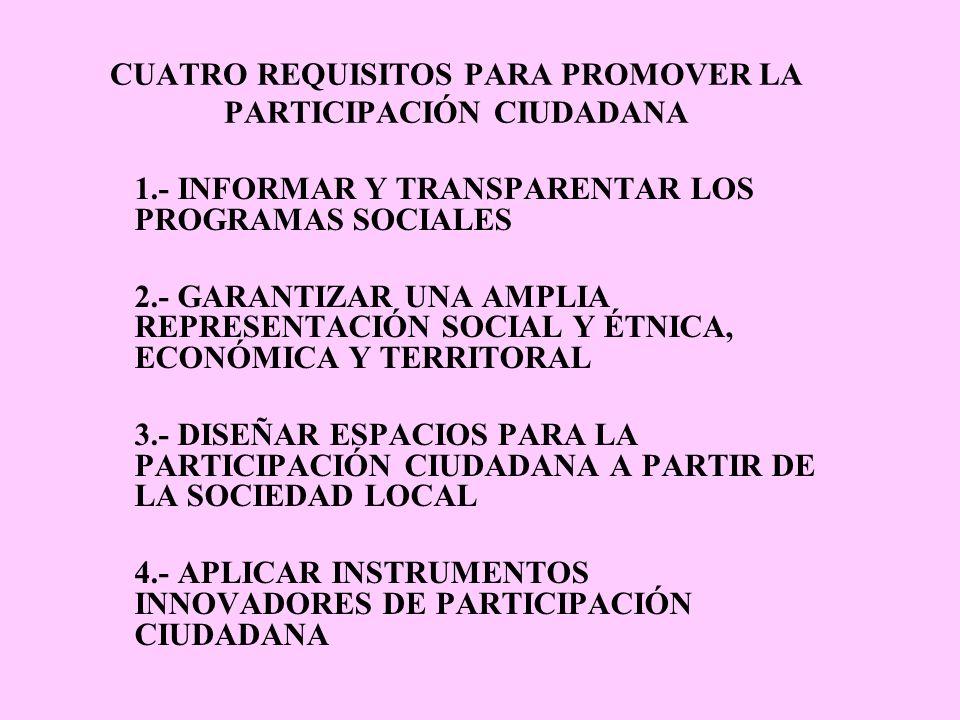CUATRO REQUISITOS PARA PROMOVER LA PARTICIPACIÓN CIUDADANA 1.- INFORMAR Y TRANSPARENTAR LOS PROGRAMAS SOCIALES 2.- GARANTIZAR UNA AMPLIA REPRESENTACIÓN SOCIAL Y ÉTNICA, ECONÓMICA Y TERRITORAL 3.- DISEÑAR ESPACIOS PARA LA PARTICIPACIÓN CIUDADANA A PARTIR DE LA SOCIEDAD LOCAL 4.- APLICAR INSTRUMENTOS INNOVADORES DE PARTICIPACIÓN CIUDADANA