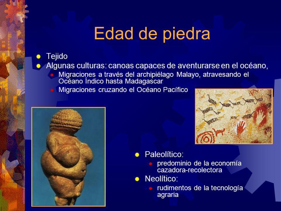 Edad de piedra Tejido Algunas culturas: canoas capaces de aventurarse en el océano, Migraciones a través del archipiélago Malayo, atravesando el Océan