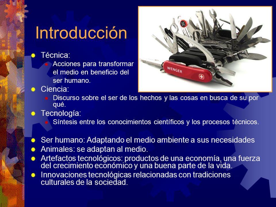 Introducción Técnica: Acciones para transformar el medio en beneficio del ser humano. Ciencia: Discurso sobre el ser de los hechos y las cosas en busc