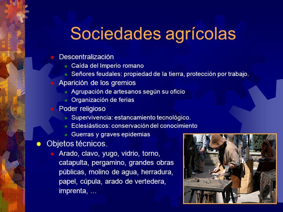 Sociedades agrícolas Descentralización Caída del Imperio romano Señores feudales: propiedad de la tierra, protección por trabajo. Aparición de los gre