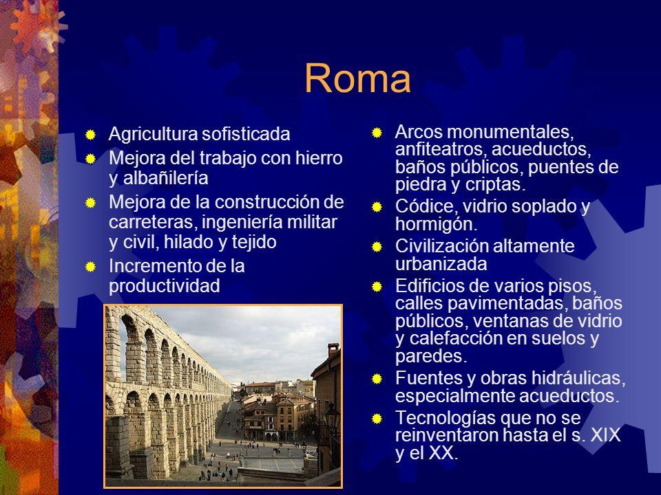 Roma Agricultura sofisticada Mejora del trabajo con hierro y albañilería Mejora de la construcción de carreteras, ingeniería militar y civil, hilado y