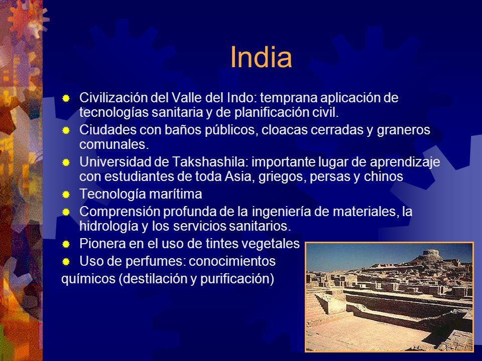 India Civilización del Valle del Indo: temprana aplicación de tecnologías sanitaria y de planificación civil. Ciudades con baños públicos, cloacas cer