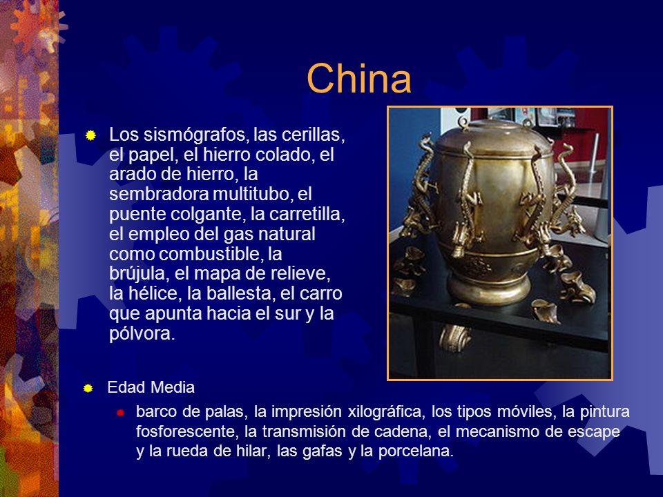 China Los sismógrafos, las cerillas, el papel, el hierro colado, el arado de hierro, la sembradora multitubo, el puente colgante, la carretilla, el em