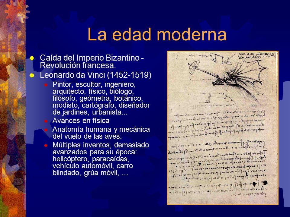 La edad moderna Caída del Imperio Bizantino - Revolución francesa. Leonardo da Vinci (1452-1519) Pintor, escultor, ingeniero, arquitecto, físico, biól