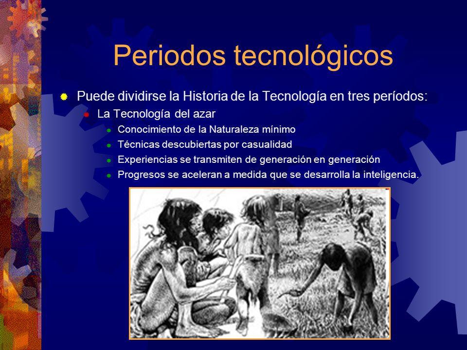 Periodos tecnológicos Puede dividirse la Historia de la Tecnología en tres períodos: La Tecnología del azar Conocimiento de la Naturaleza mínimo Técni