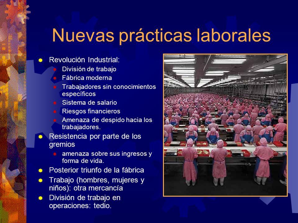 Nuevas prácticas laborales Revolución Industrial: División de trabajo Fábrica moderna Trabajadores sin conocimientos específicos Sistema de salario Ri