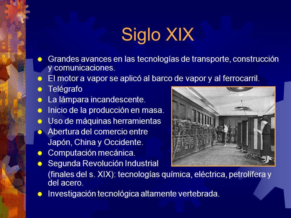 Siglo XIX Grandes avances en las tecnologías de transporte, construcción y comunicaciones. El motor a vapor se aplicó al barco de vapor y al ferrocarr