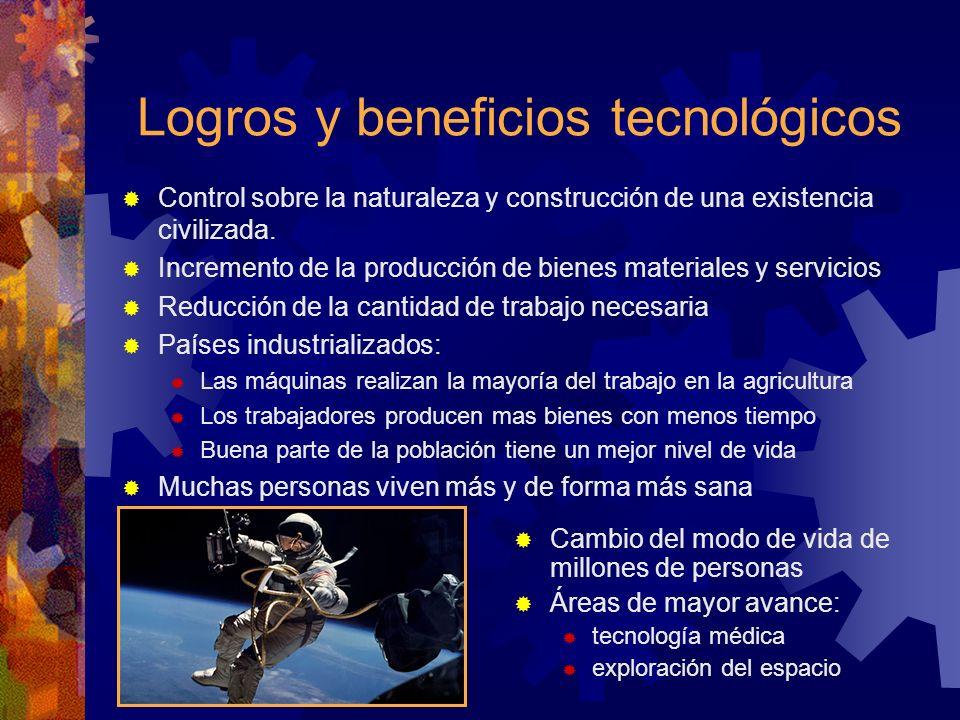 Logros y beneficios tecnológicos Control sobre la naturaleza y construcción de una existencia civilizada. Incremento de la producción de bienes materi