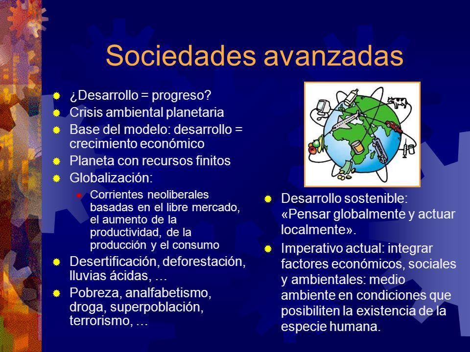 Sociedades avanzadas ¿Desarrollo = progreso? Crisis ambiental planetaria Base del modelo: desarrollo = crecimiento económico Planeta con recursos fini