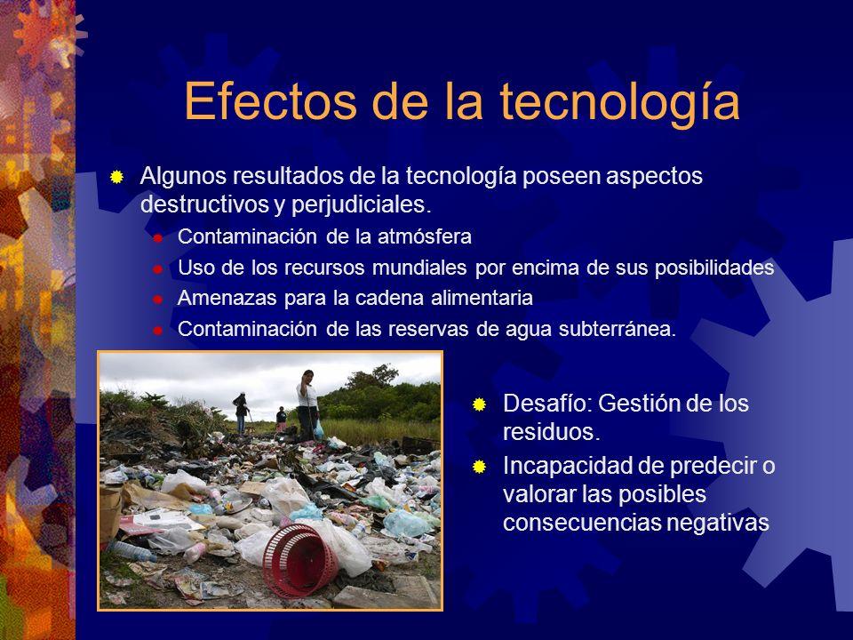 Efectos de la tecnología Algunos resultados de la tecnología poseen aspectos destructivos y perjudiciales. Contaminación de la atmósfera Uso de los re