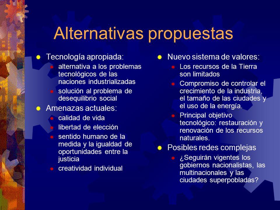 Alternativas propuestas Tecnología apropiada: alternativa a los problemas tecnológicos de las naciones industrializadas solución al problema de desequ