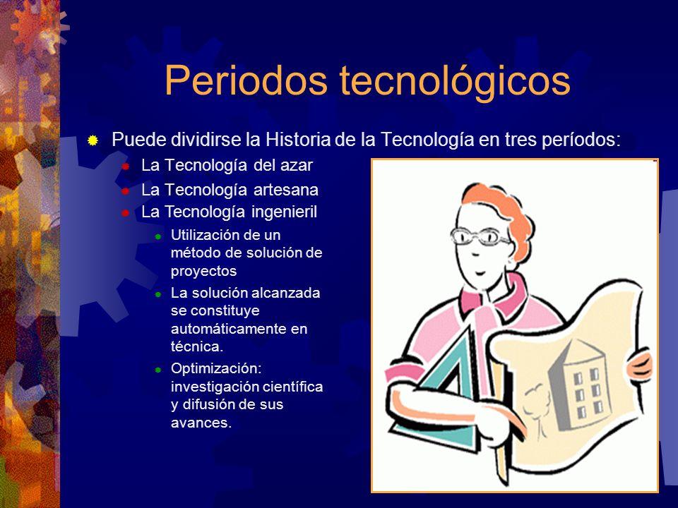 Periodos tecnológicos Puede dividirse la Historia de la Tecnología en tres períodos: La Tecnología del azar La Tecnología artesana La Tecnología ingen