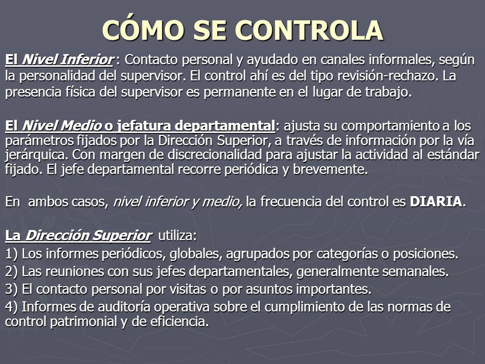 CÓMO SE CONTROLA El Nivel Inferior : Contacto personal y ayudado en canales informales, según la personalidad del supervisor. El control ahí es del ti