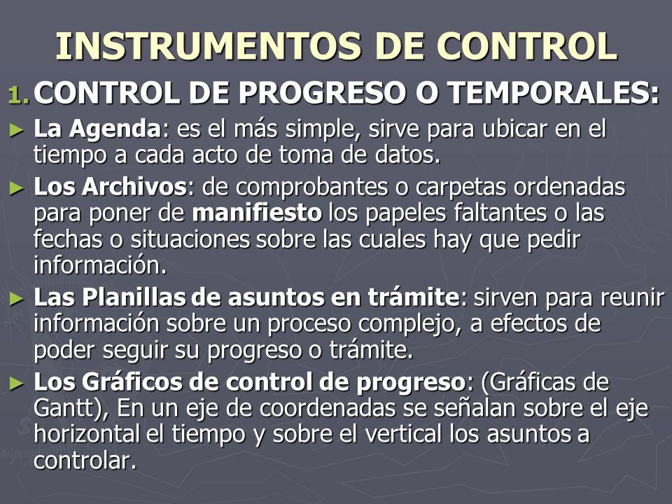 INSTRUMENTOS DE CONTROL 1. CONTROL DE PROGRESO O TEMPORALES: La Agenda: es el más simple, sirve para ubicar en el tiempo a cada acto de toma de datos.