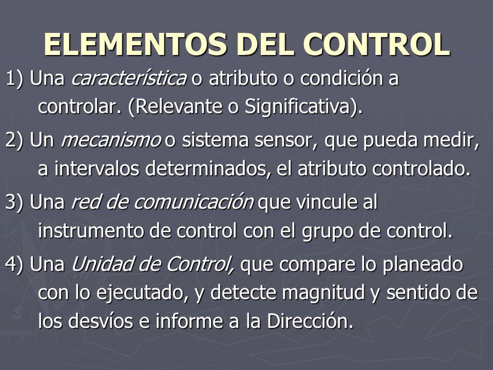 ELEMENTOS DEL CONTROL 1) Una característica o atributo o condición a controlar. (Relevante o Significativa). 2) Un mecanismo o sistema sensor, que pue
