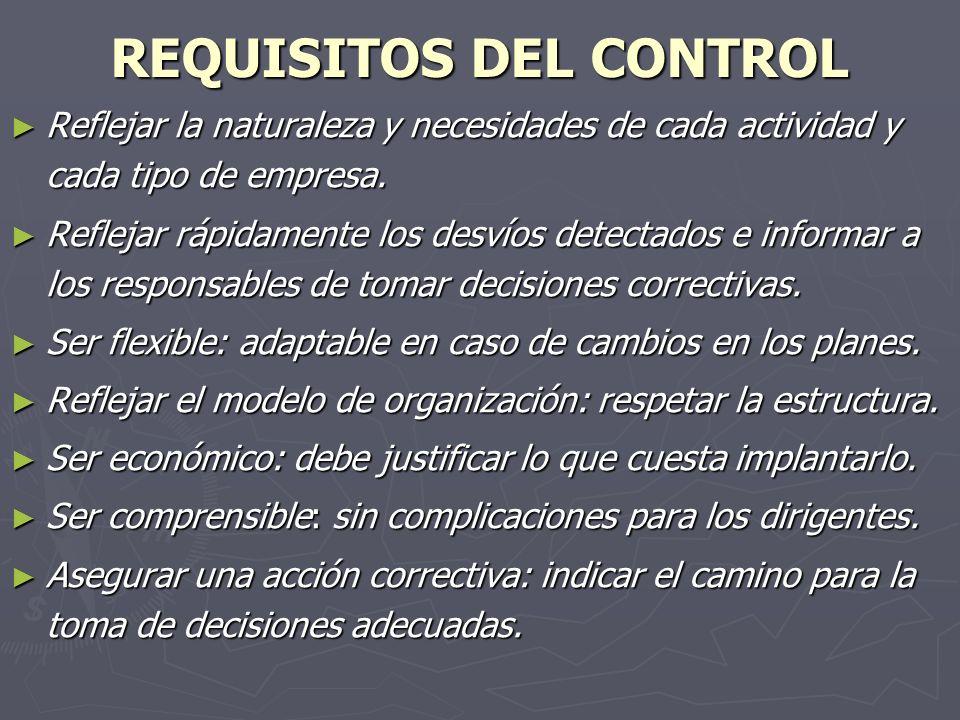 REQUISITOS DEL CONTROL Reflejar la naturaleza y necesidades de cada actividad y cada tipo de empresa. Reflejar la naturaleza y necesidades de cada act